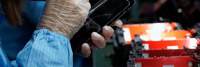 Image réelle d'une usine fabricant des assemblages écrans OLED et LCD avec laquelle nous avons des liens.